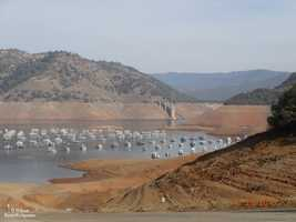 Lake Oroville's water levels were at 36 percent of capacity in Jan. 2014.