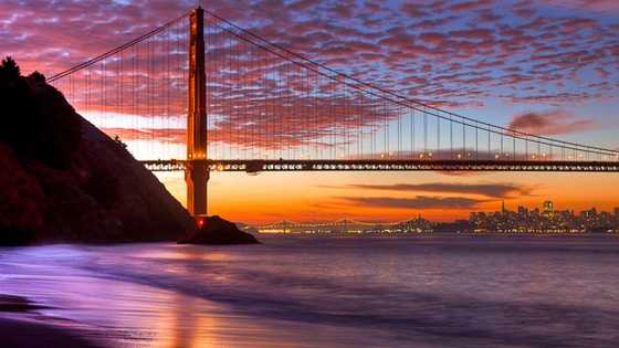 San Francisco has the Golden Gate Bridge, a prominent American landmark with some unforgettable views.