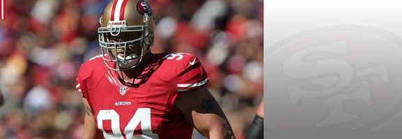 If Frank Gore is the heart and soul of the 49ers' offense, Justin Smith is the heart and soul on the defensive side of the ball. Look for Smith to lead the Niners' pass rush attack, and create lanes for fellow teammates to get sacks (see Aldon Smith). Read bio.