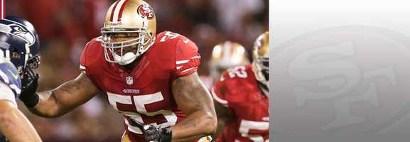 On a team loaded at the linebacker position, Ahmad Brooks is often the forgotten man. But Brooks, who made a great goal line play last week against the Panthers, has shown throughout the season he can make a game-saving play or tackle for the 49ers. Read bio.