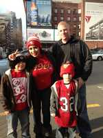 San Francisco 49ers fans walk around the city of Seattle.