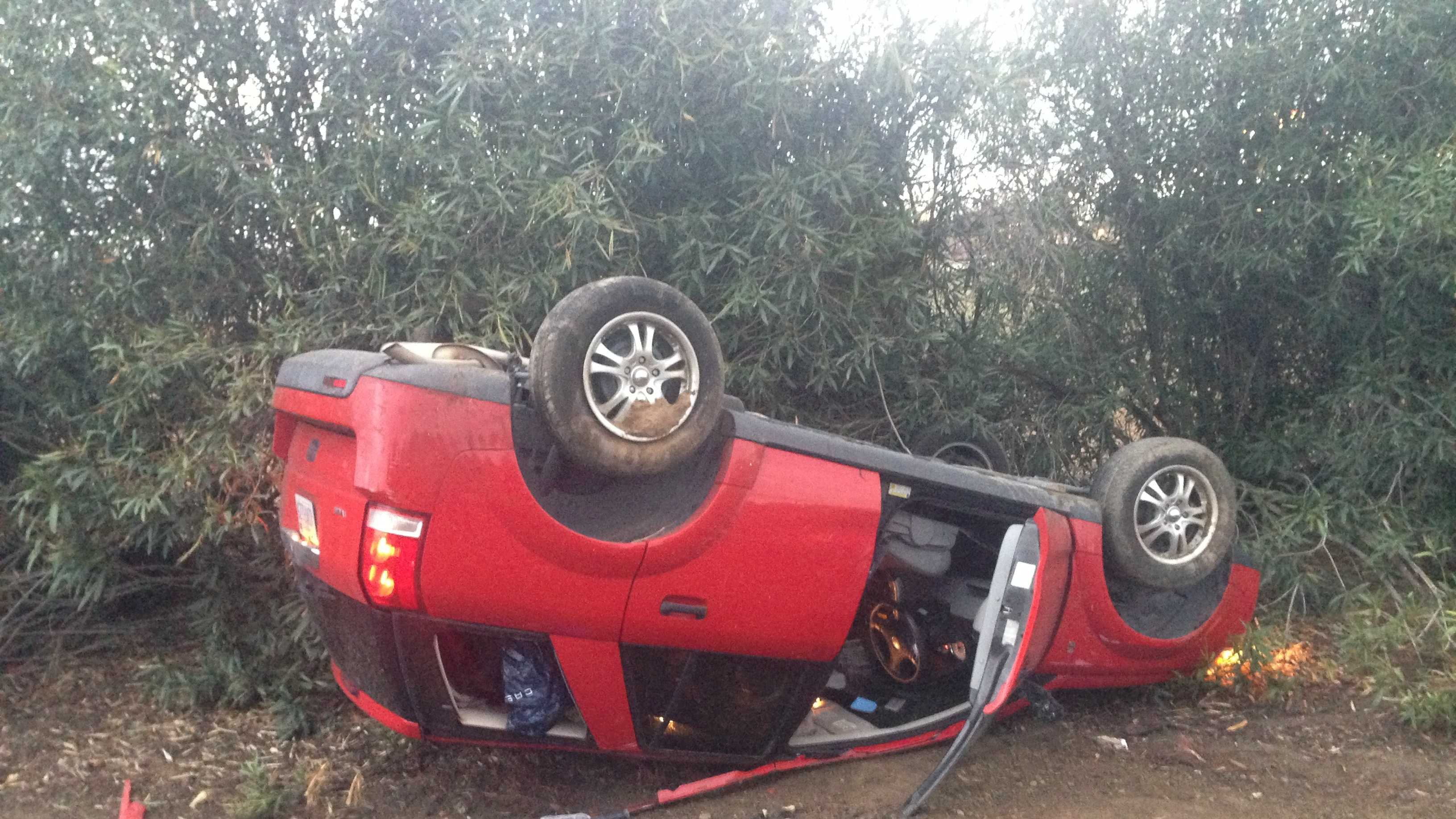 The driver of a red SUV lost control of her vehicle on the off-ramp at Exposition Boulevard and the Capital City Freeway, police said. No other cars were involved (Jan. 29, 2014).