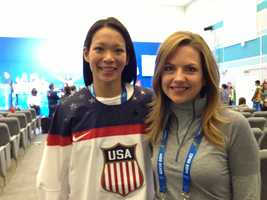 Julie Chu of the U.S. women's ice hockey team poses with KCRA's Deirdre Fitzpatrick.