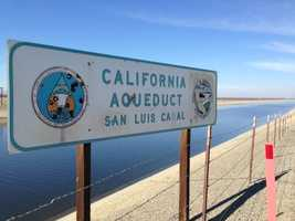Water in part of the California Aqueduct at the San Luis Canal doesn't seem to be flowing very fast.