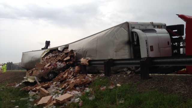 Overturned big rig I-580