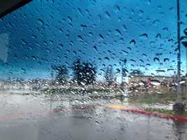 Rain falls in Stockton on Friday.