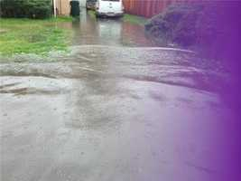 A Stockton neighborhood dealt with some flooding because of the rain.