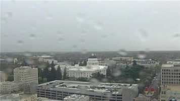 Some rain drops are on the KCRA 3 SkyCam overlooking downtown Sacramento and the Capitol building.