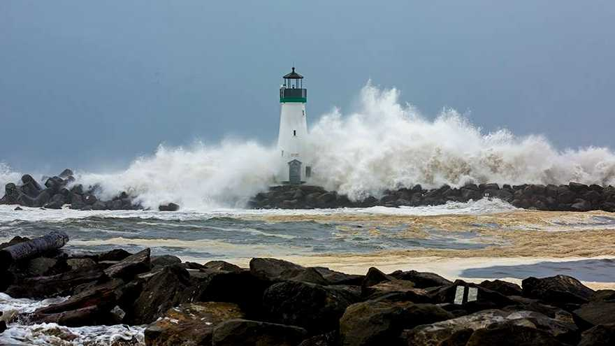 The Santa Cruz harbor lighthouse