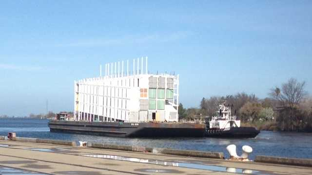 The Google Barge docks at the Port of Stockton Thursday. (March 6, 2014)