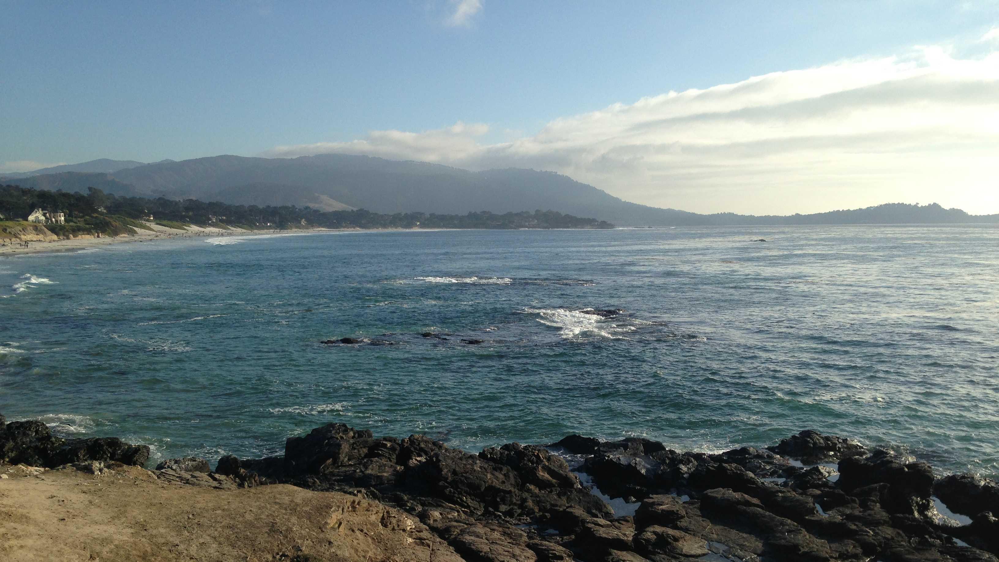 ocean, pacific ocean, cliff, coast, carmel, monterey