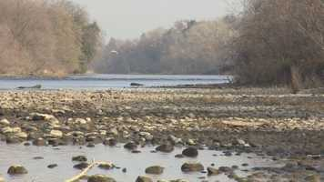 Rocks that are normally underwater are exposed along the American River.