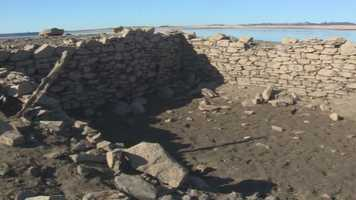 Low water levels at Folsom Lake revealed some ruins that were part of Mormon Island.