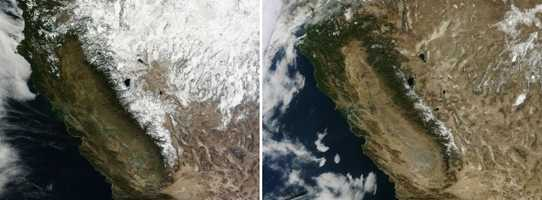It was a dry year for California in 2013, but it has nothing on 2014 so far. Check out these pictures: The one on the left was taken on Jan. 18, 2013 and the one on the right is from Jan. 18, 2014.The satellite image from 2013 contrasts last year's drought conditions with the extreme conditions currently in place. The most striking difference between the two years is the amount of snow cover on mountains.