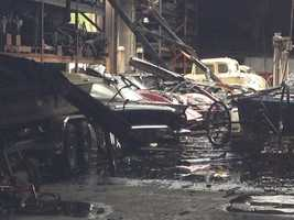 A look inside the downtown Sacramento building that was destroyed in a fire Thursday. Several classic cars were housed inside the building. (April 4, 2014)