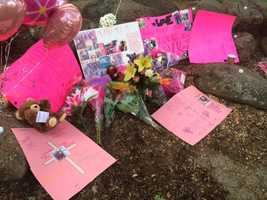 Friends and family brought signs, balloons, pictures and flowers as a memorial for the teen.