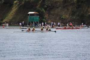 The women's varsity 4 boat donned bright green hats for race day.