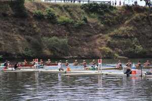 All boats at attention pre-race, ready to start the women's varsity 4 national qualifier.
