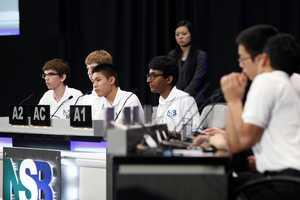 Mira Loma teammates (from left to right) Matt Kempster, Jack Gurev, Daniel Shen, and Arvind Sundararajan