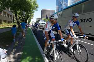 Stage 1 of the Amgen Tour rode through downtown Sacramento on Sunday. (May 11, 2014)
