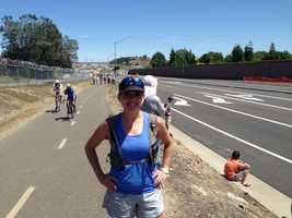 KCRA's Deirdre Fitzpatrick at Stage 2 of the Amgen Tour of California in Folsom. (May 12, 2014)