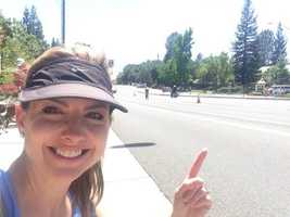 Deidre takes a selfie along the course track in Folsom. (May 12, 2014)