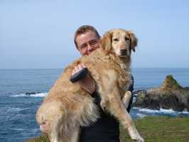 18.) I love animals, and I'm a dog person. I had a golden retriever named Fiji, who we had to say goodbye to last summer -- after 14 wonderful years. My wife and I plan to get a new dog soon, but we just haven't been ready yet. This is a picture of Fiji and me along the Mendocino Coast.