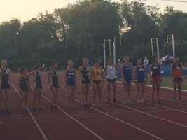 Women line up for the start of the steeplechase