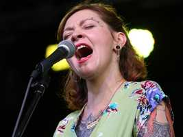 Meschiya Lake sings with her band, the Little Big Horns, at the Sacramento Music Festival and Jubilee on May 23.