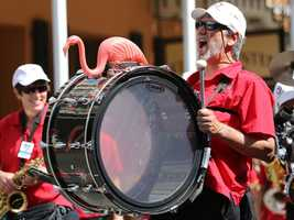 A member of California Repercussions marches in the Sacramento Music Festival and Jubilee parade on May 24.