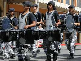 Musicians march in the Sacramento Music Festival and Jubilee parade on May 24.