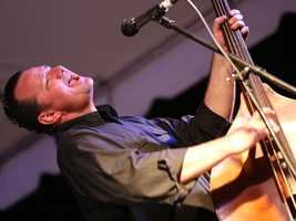 Brent Harding plays bass with Deke Dickerson at the Sacramento Music Festival and Jubilee on May 23.
