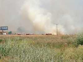 Traffic backup up along Interstate 80 Business because of heavy smoke.