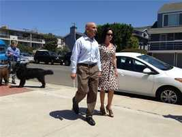 Neel Kashkari, a candidate for governor, arrives with girlfriend Christine Ong.