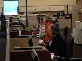 The phone bank is so slow at Sacramento election headquarters that an election's employee had to call to make sure phones were working.