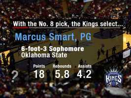 Marcus SmartWith the uncertainty of Isaiah Thomas' future with the team, the Kings could look to fill the point guard position by drafting Smart. He may be the best guard in the draft.
