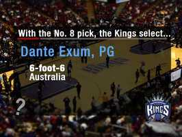 Dante ExumHe may be gone early, but the Kings could go after Exum. Many observes believe he has massive upside. The future point guard can play both positions and is equipped with size, skill and athleticism.