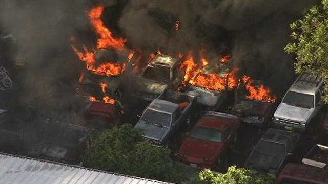 An overhead shot of the fire that burned in Sacramento on Thursday evening (June 26, 2014).