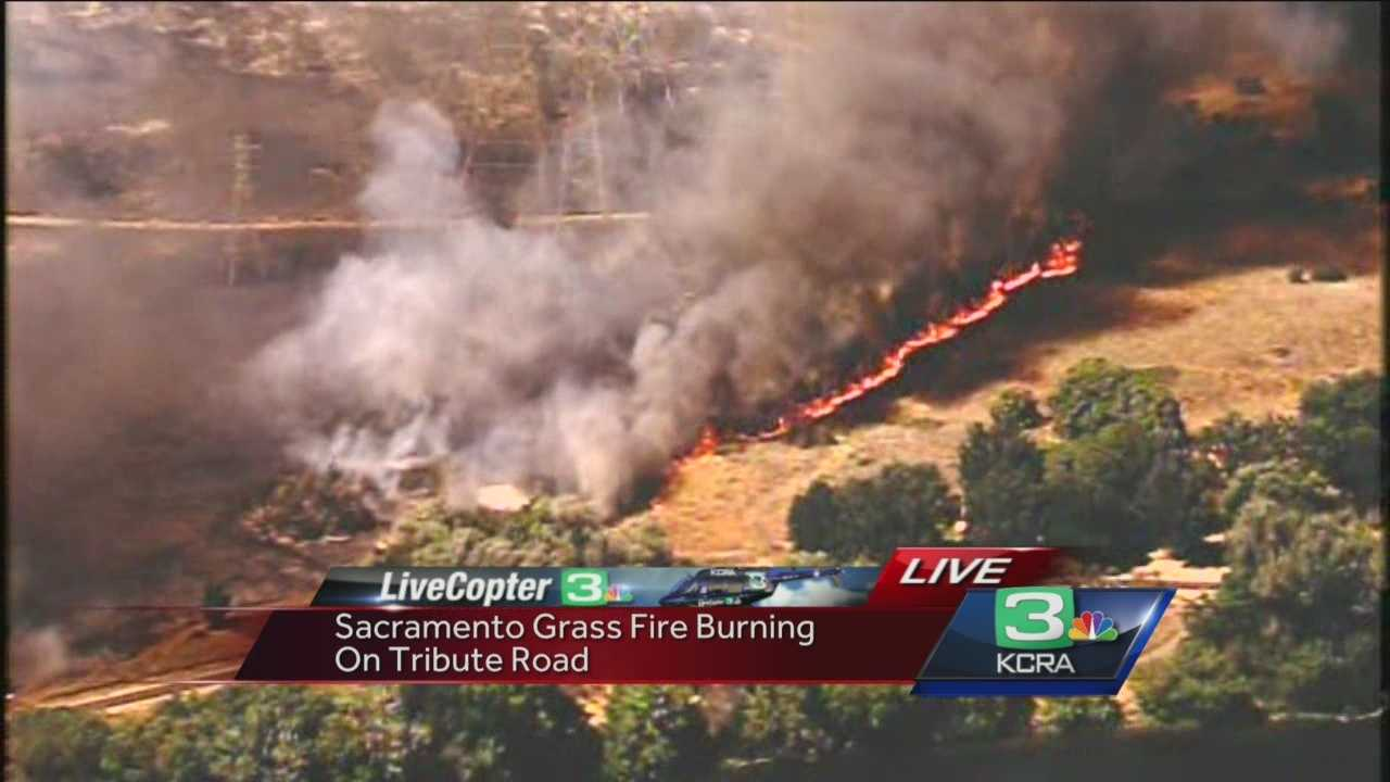 The fire is burning on Tribute Road in Sacramento. Here's some perspective from LiveCopter and Tom DuHain.