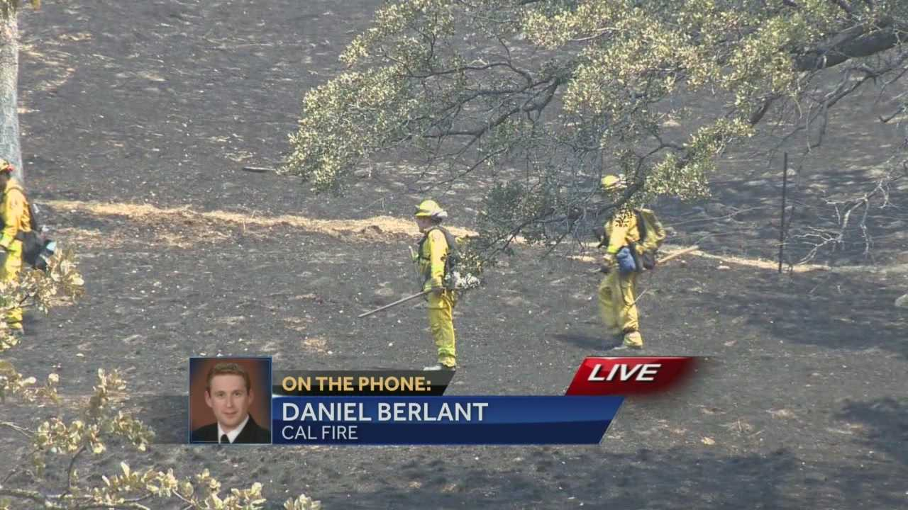 Daniel Berlant with Cal Fire gives an update on the Monticello Fire near Lake Berryessa.