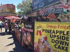Pineapple upside down cake is delicious enough -- how about trying it a la fried? This stand also has deep-fried watermelon.