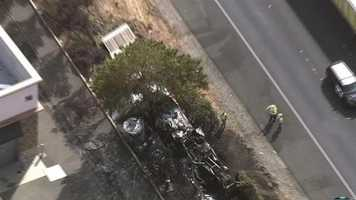 An overturned big rig that ignited in flames forced the closure of eastbound lanes on Interstate 80 in Fairfield. (July 14, 2014)