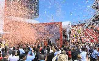 Confetti filled the air as hundreds attended the ribbon cutting for the new Levi's Stadium in Santa Clara. (July 17, 2014)