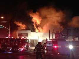 A large fire is engulfing a Sacramento tire shop on Stockton Boulevard.