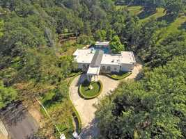 Here's an aerial view of the Mediterranean-style home.
