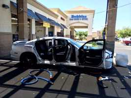 Six people were injured Friday after an employee lost control of a vehicle and crashed at an Elk Grove car wash, police said.
