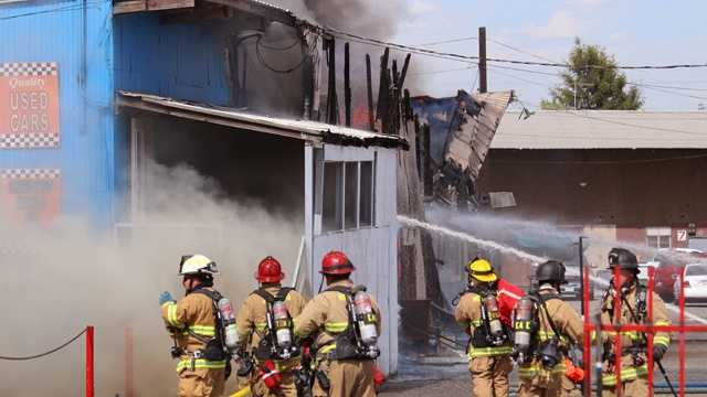 A two-alarm fire broke out at a Modesto auto repair shop on Crows Landing Road. (July 22, 2014)