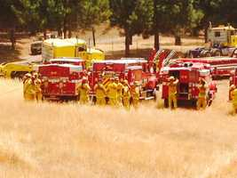 Cal Fire crews prepare to battle the Sand Fire in Amador County. (July 27, 2014)
