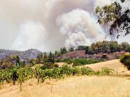 The Sand Fire burns in Amador and El Dorado counties. (July 27, 2014)