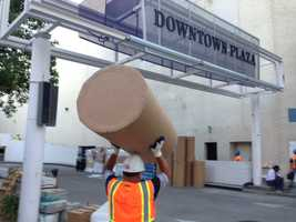 Demolition started Friday at Sacramento's Downtown Plaza to make way for the new arena (Aug. 1, 2014).